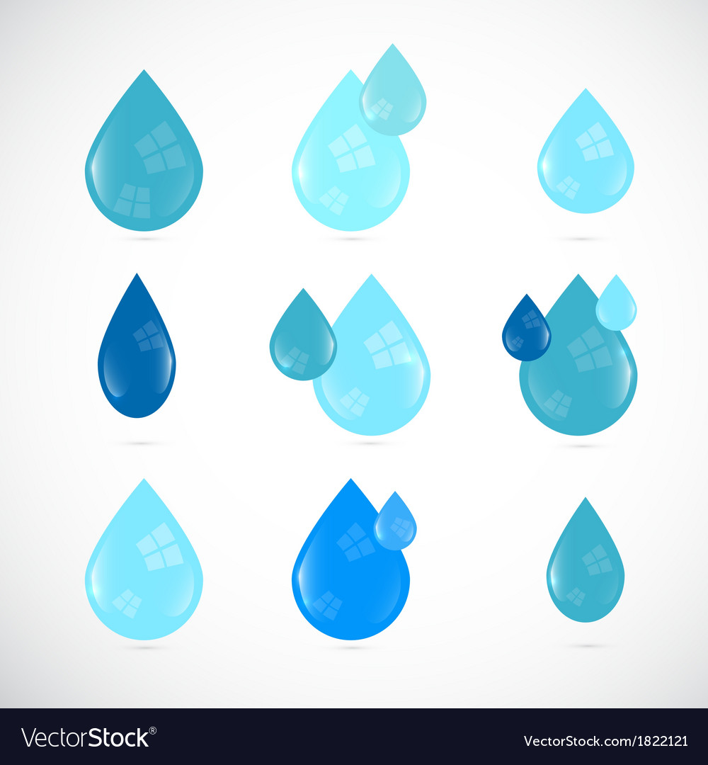 Blue water drops symbols set vector | Price: 1 Credit (USD $1)