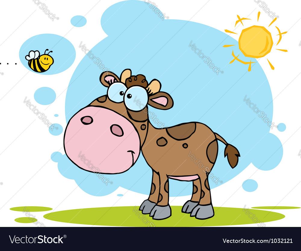 Brown calf watching a bee on a sunny day vector | Price: 1 Credit (USD $1)