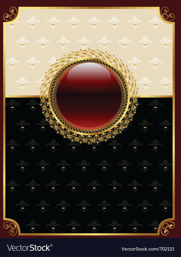Golden vintage frame with floral medallion - vector   Price: 1 Credit (USD $1)