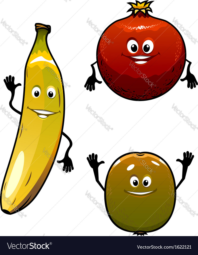 Green kiwi red pomegranate anf yellow banana vector | Price: 1 Credit (USD $1)