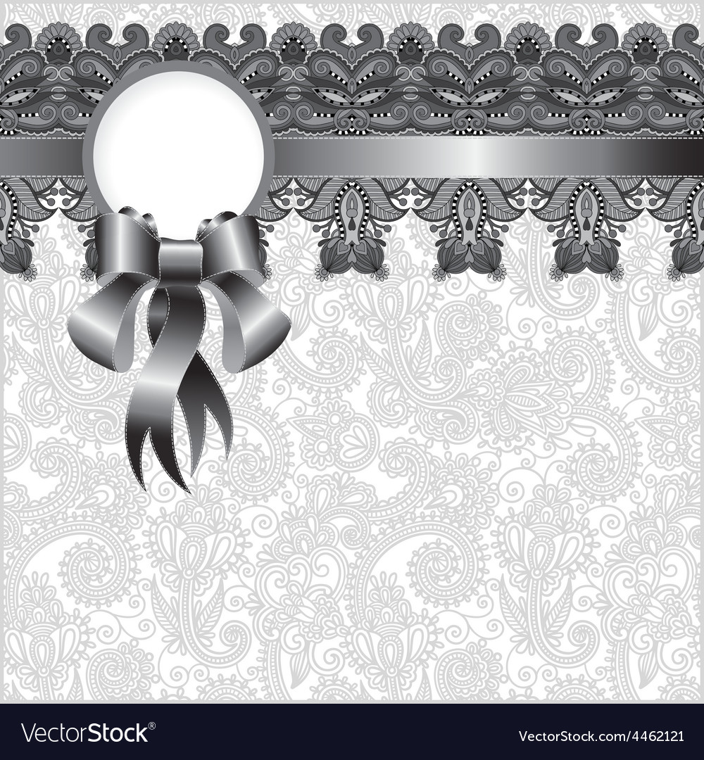Grey ornamental background with flower ribbon vector | Price: 1 Credit (USD $1)