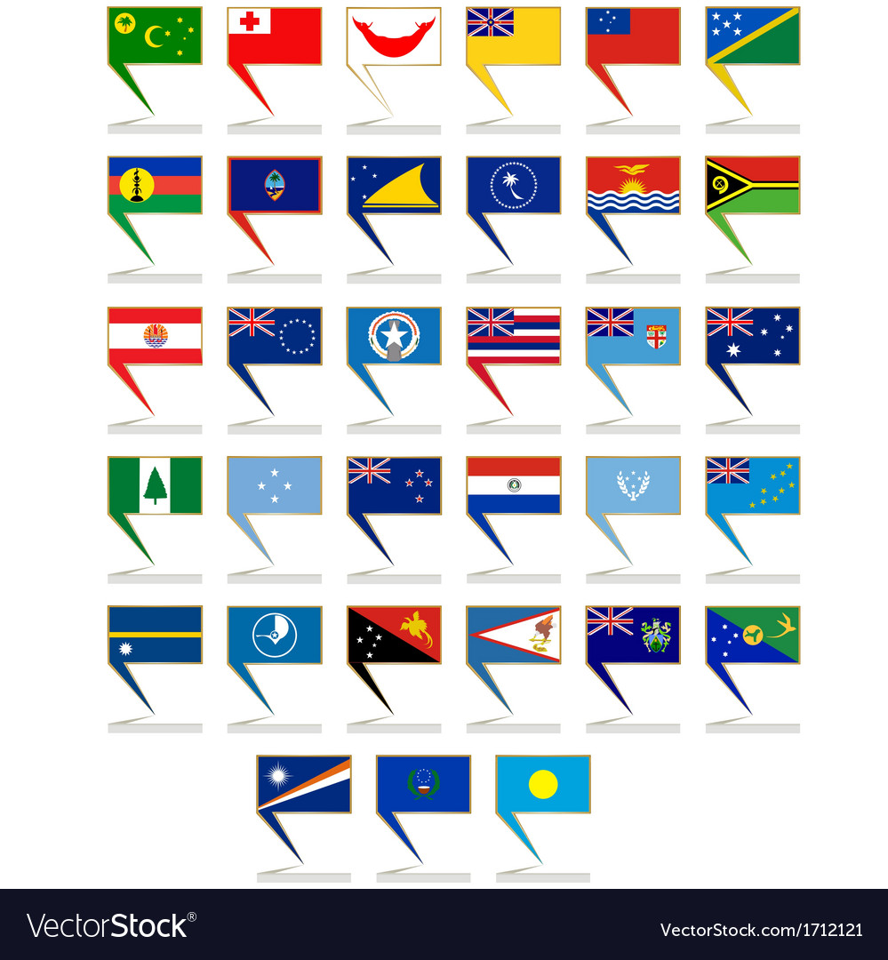 Icons with the flags of australia and oceania vector | Price: 1 Credit (USD $1)