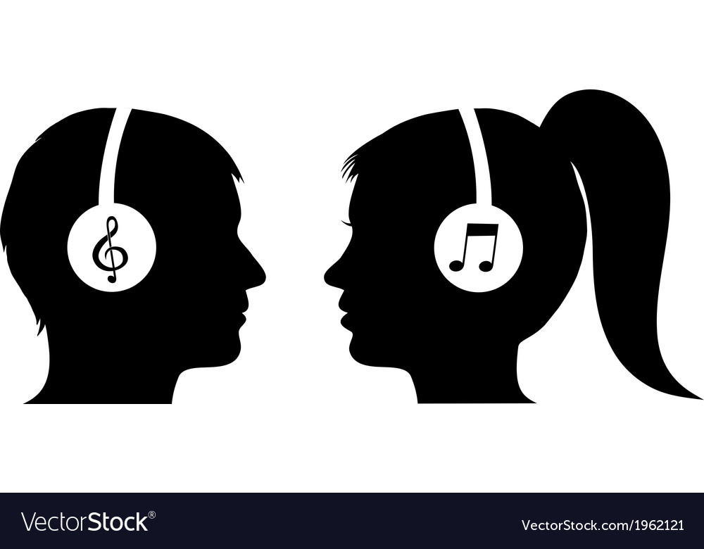 Man and woman listening to music vector | Price: 1 Credit (USD $1)