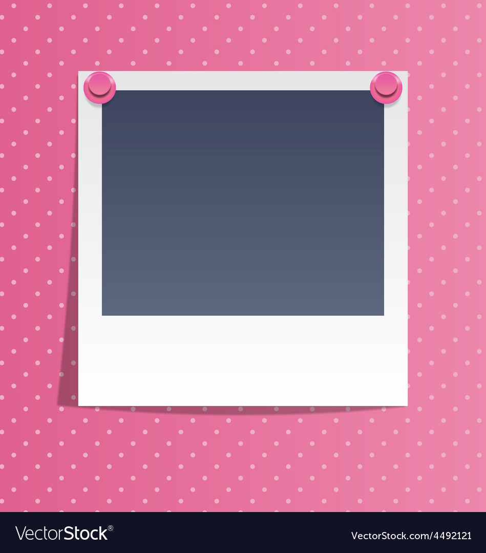 Photo frame on wall with pink pins on pink vector | Price: 1 Credit (USD $1)