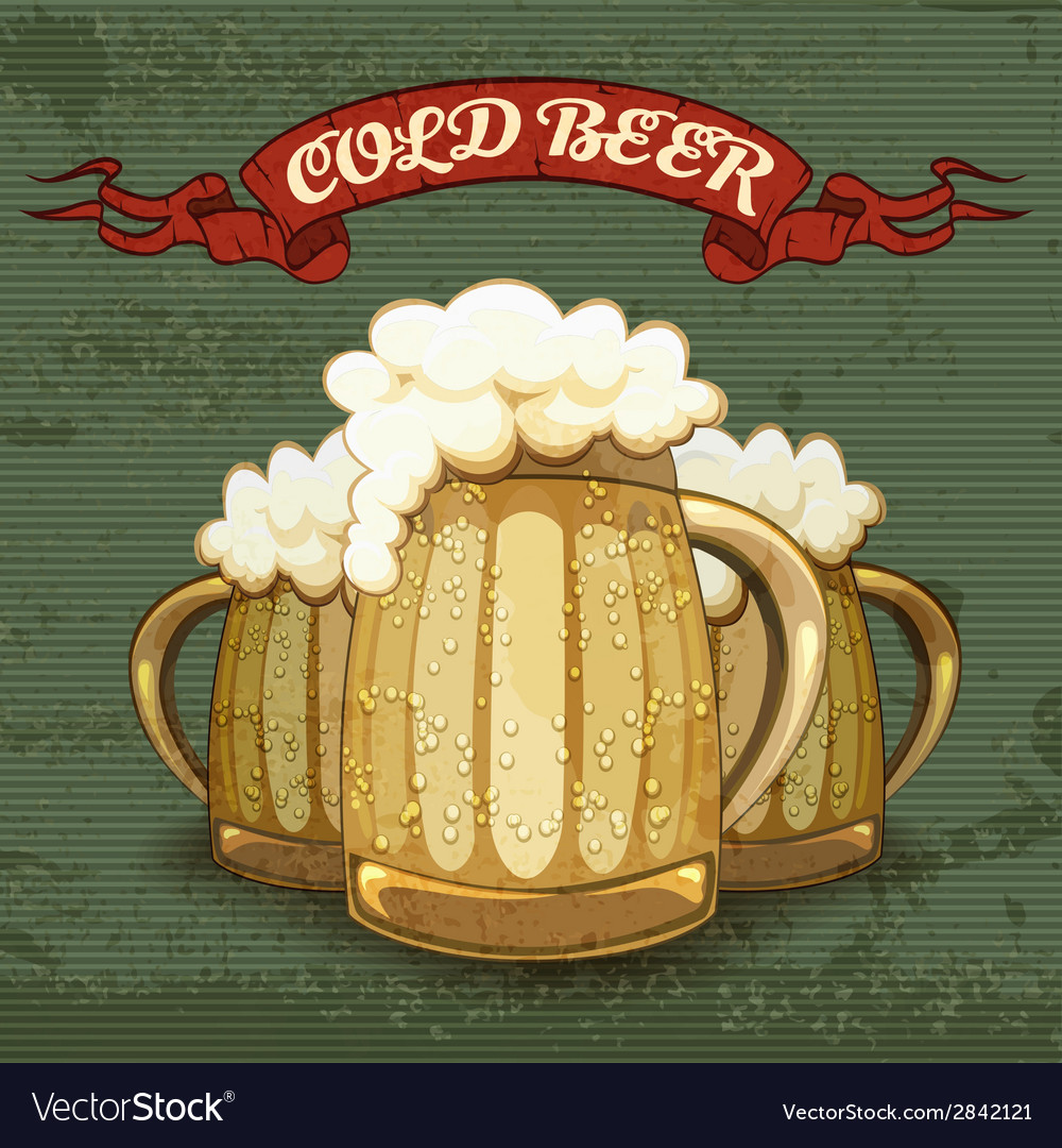 Retro style poster for cold beer vector | Price: 1 Credit (USD $1)