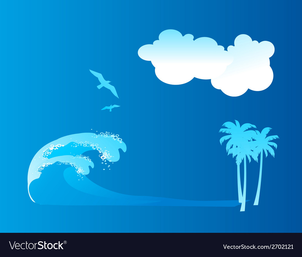 Sea wave blue backgroud with bird and cloud vector | Price: 1 Credit (USD $1)
