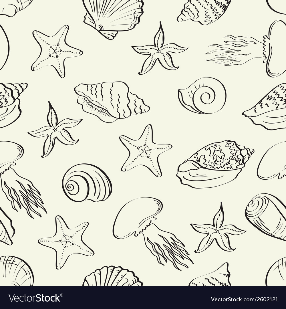 Seamless pattern marine animals contours vector | Price: 1 Credit (USD $1)