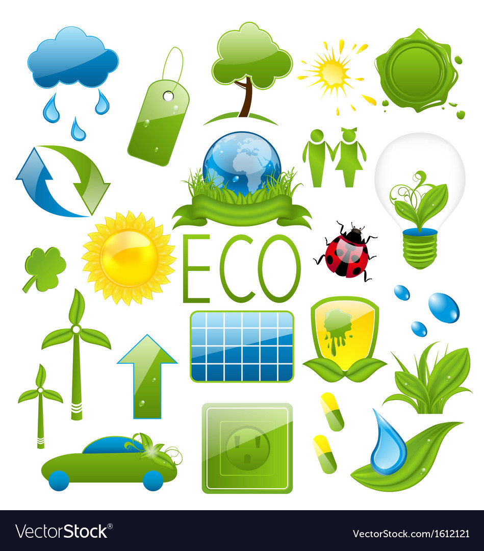Set of green ecology icons 2 vector | Price: 1 Credit (USD $1)