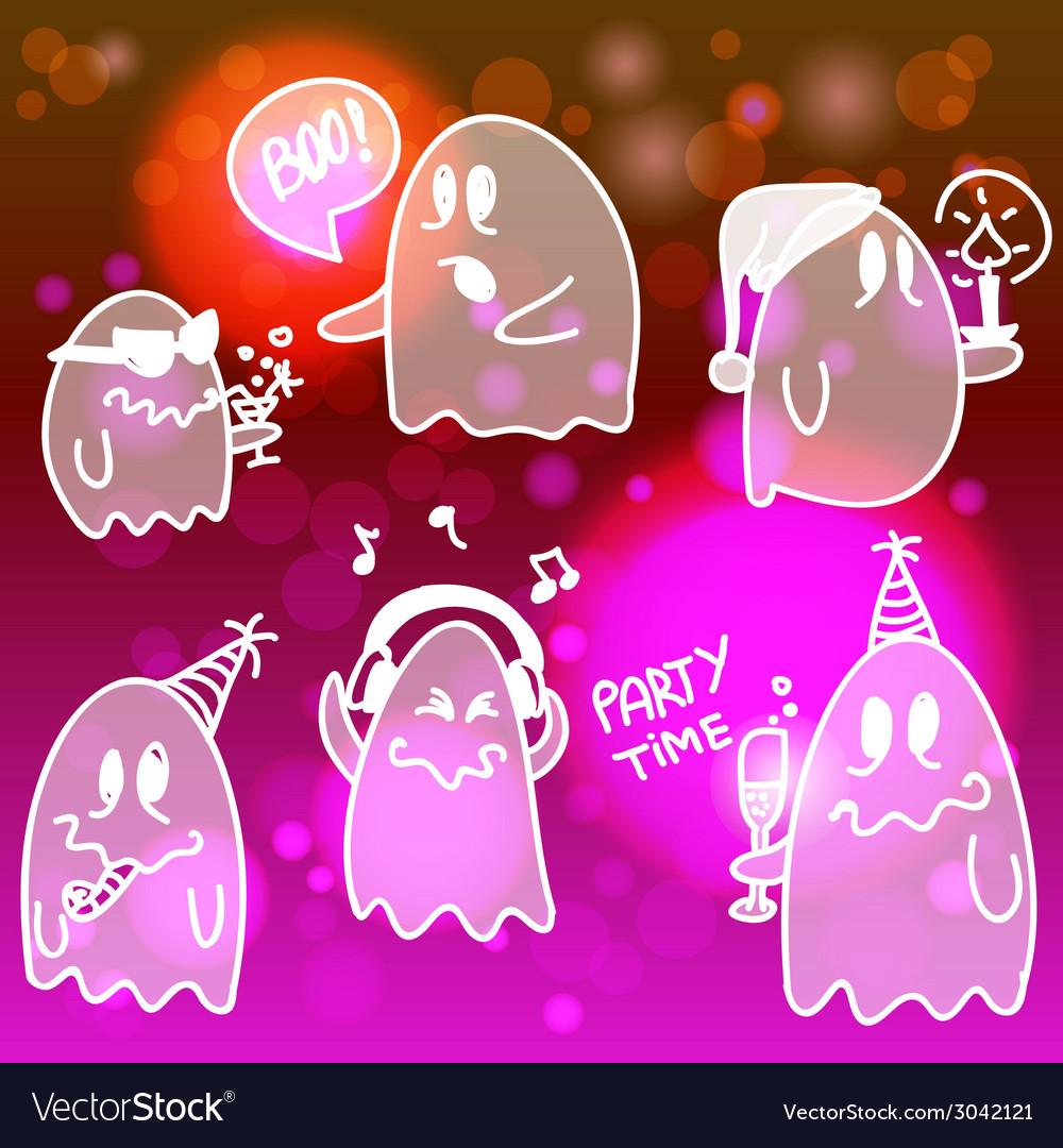 Set of halloween ghosts vector | Price: 1 Credit (USD $1)