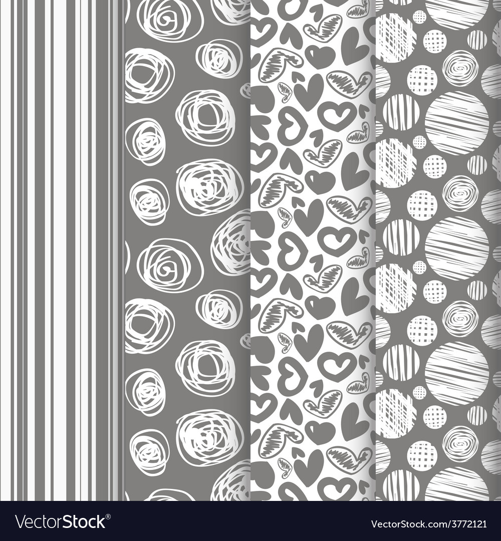 Set of seamless abstract pattern in retro style vector | Price: 1 Credit (USD $1)