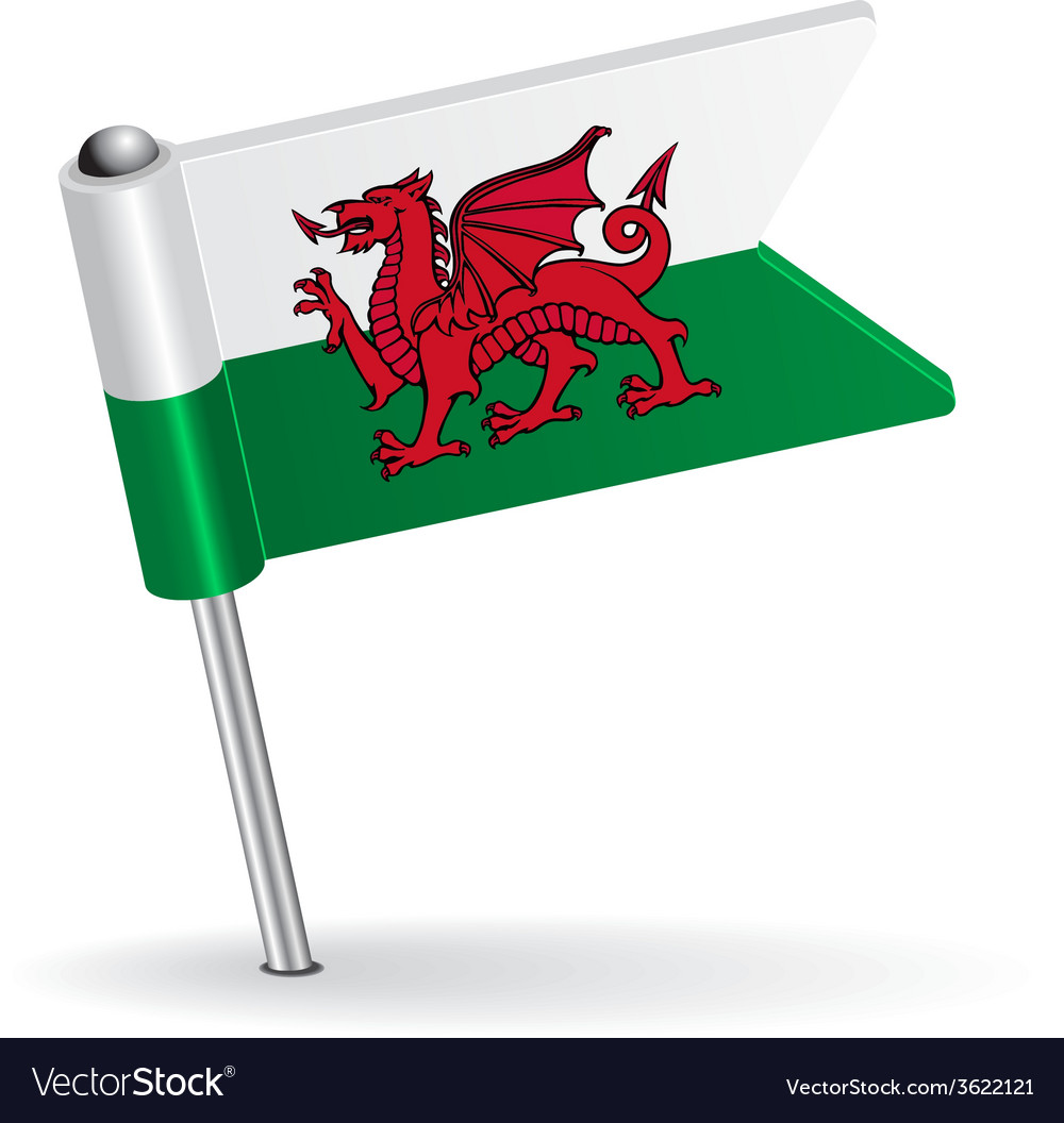 Welsh pin icon flag vector | Price: 1 Credit (USD $1)