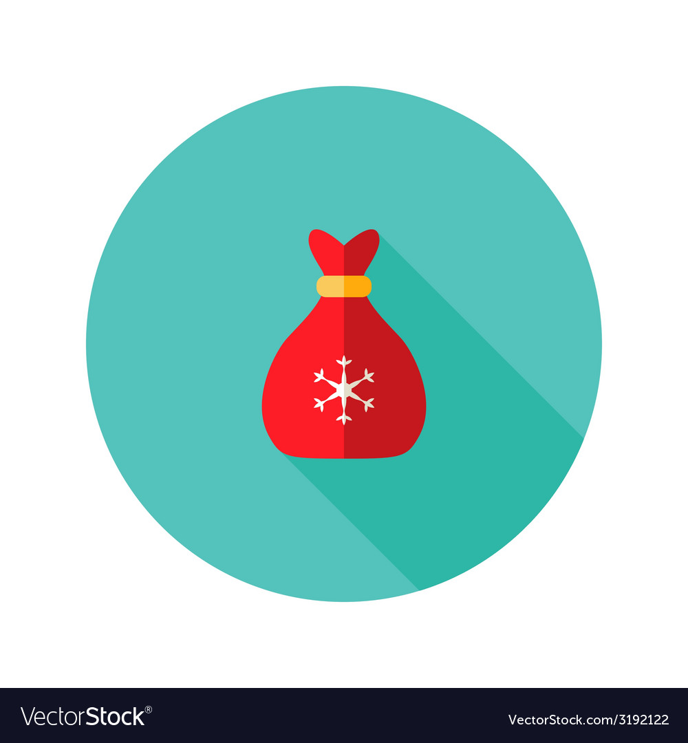 Christmas bag with snowflake flat icon vector | Price: 1 Credit (USD $1)