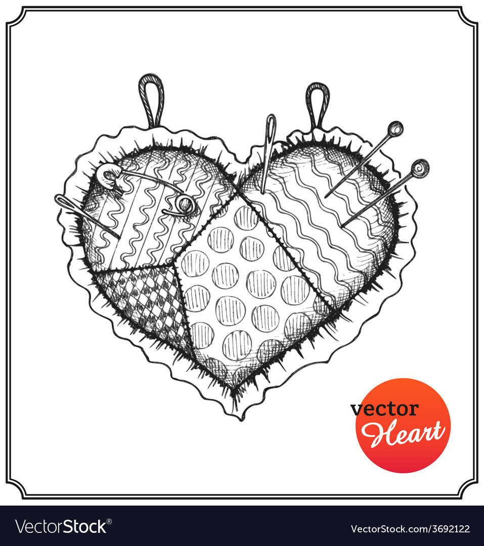 Cushion for needles and pins in shape of heart vector | Price: 1 Credit (USD $1)