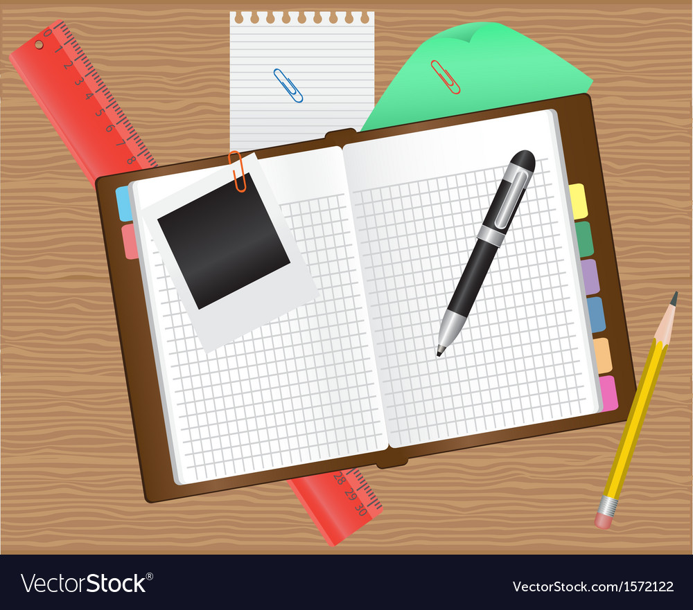 Diary and office supplies vector | Price: 1 Credit (USD $1)