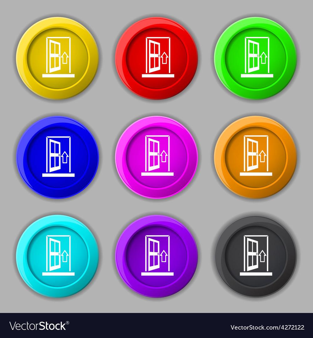 Door enter or exit icon sign symbol on nine round vector | Price: 1 Credit (USD $1)
