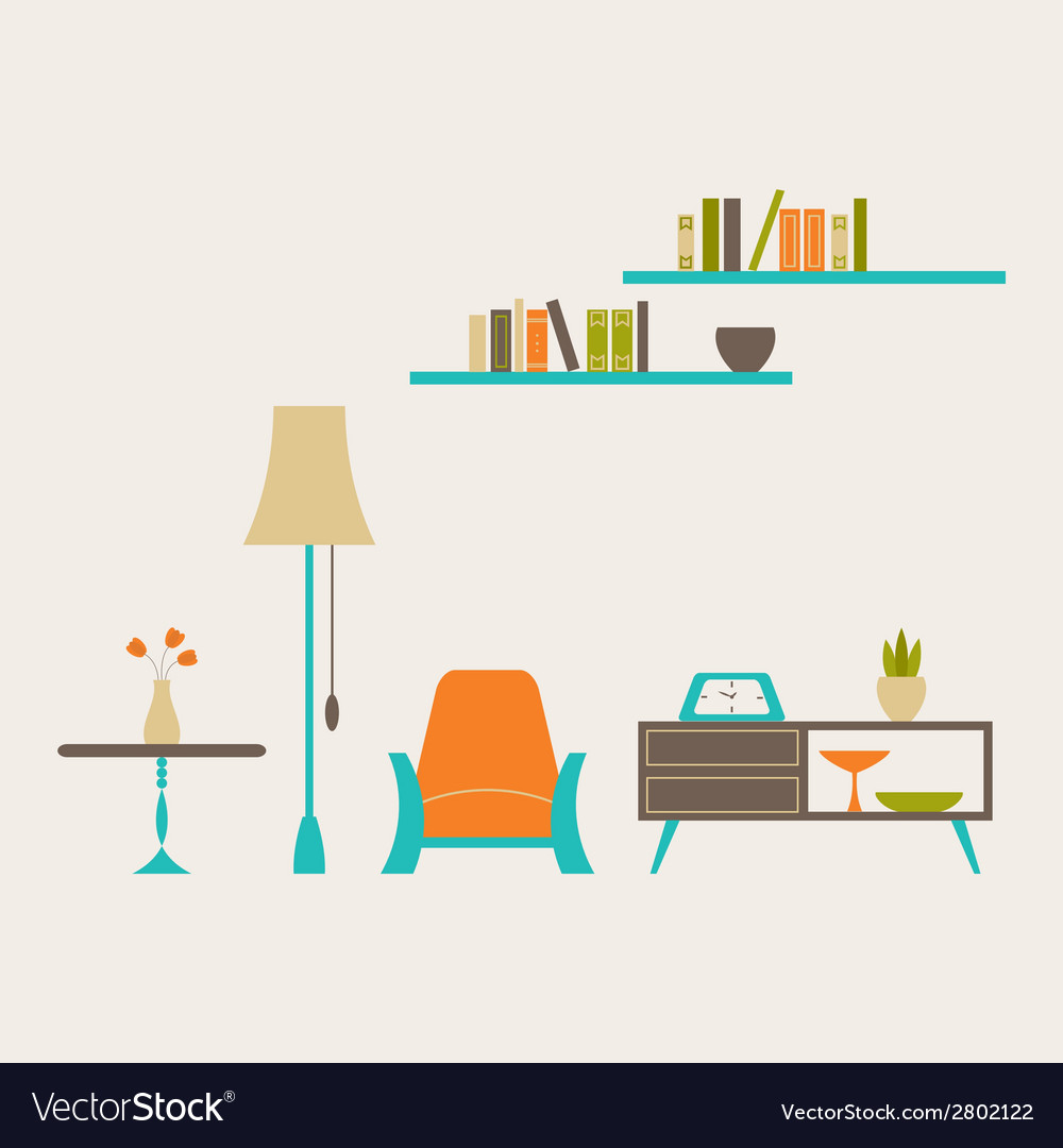 Furniture set over light grey vector | Price: 1 Credit (USD $1)