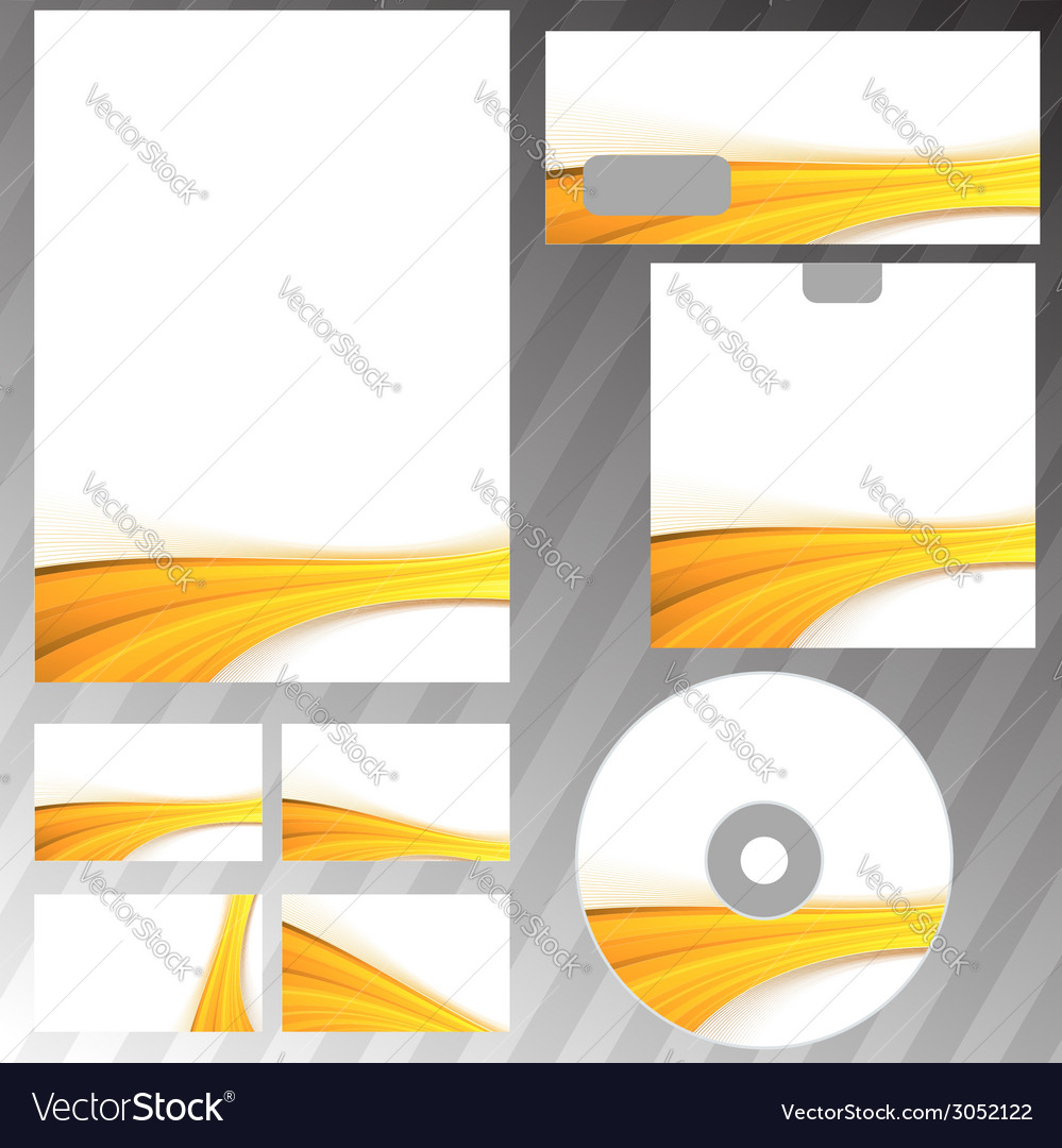 Golden wave border corporate mock-up set vector | Price: 1 Credit (USD $1)