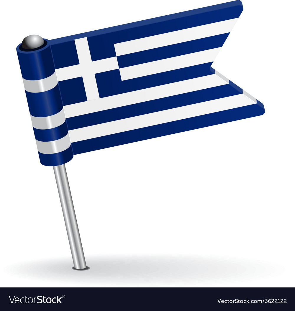 Greece pin icon flag vector | Price: 1 Credit (USD $1)