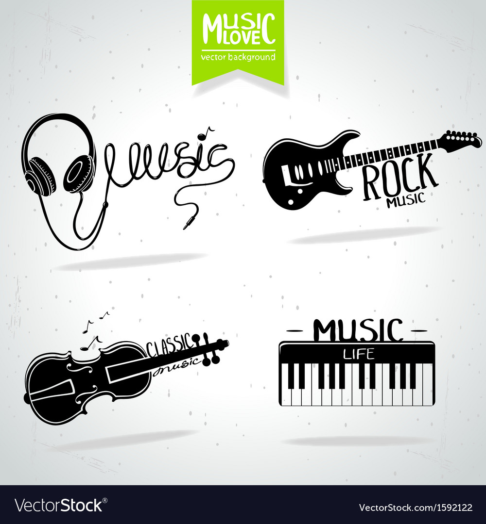Music silhouette set vector | Price: 1 Credit (USD $1)