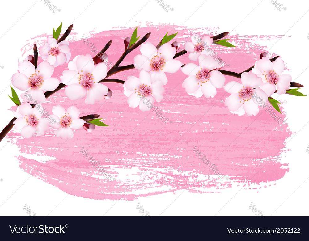 Pink paint sakura branch banner vector | Price: 1 Credit (USD $1)