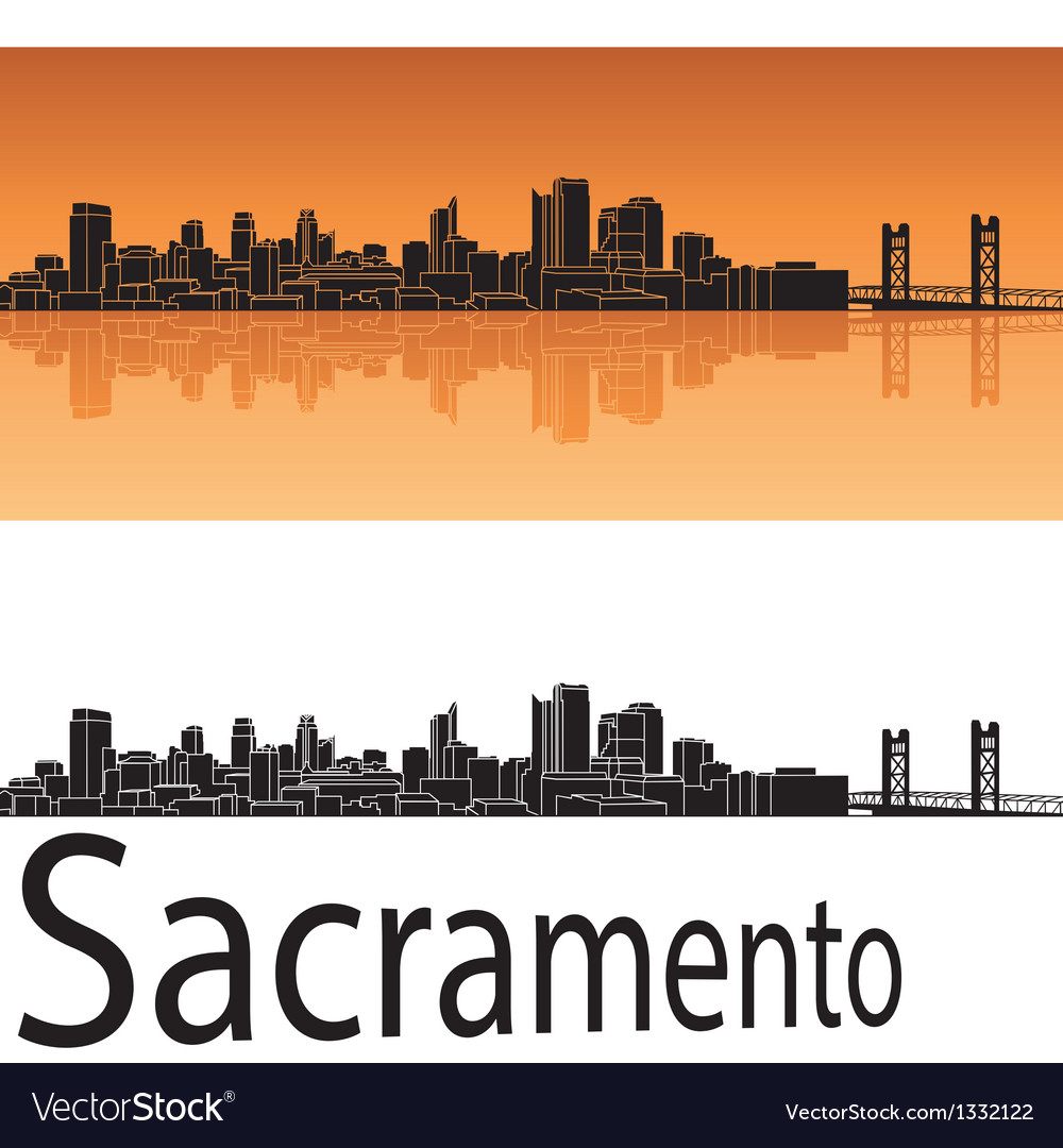 Sacramento skyline in orange background vector | Price: 1 Credit (USD $1)