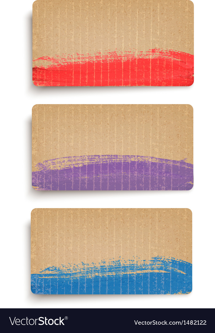 Set of cardboard banners decorated with paint vector   Price: 1 Credit (USD $1)