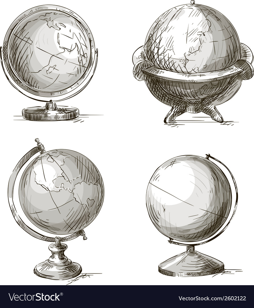Set of four hand drawn globes vector | Price: 1 Credit (USD $1)