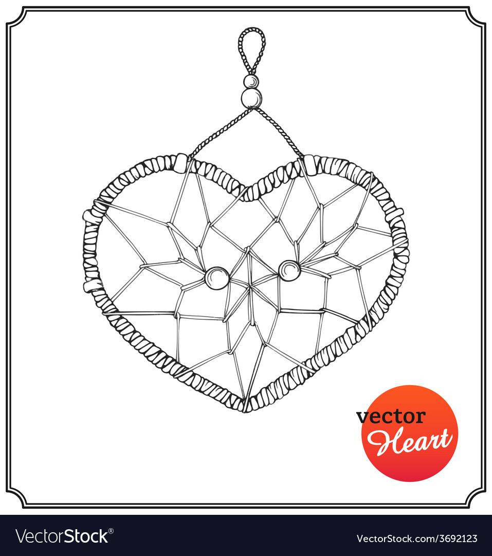 Ethnic dreamcatcher in form of heart vector | Price: 1 Credit (USD $1)