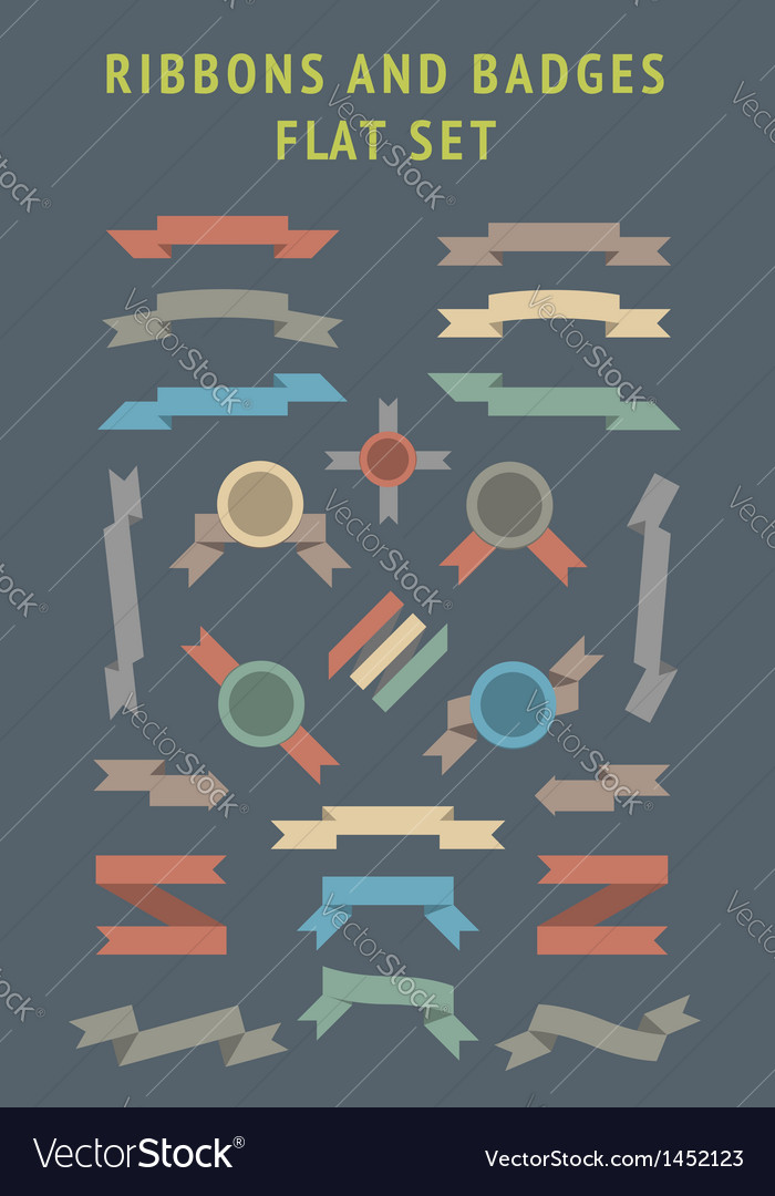 Flat color ribbons and badges vector | Price: 1 Credit (USD $1)