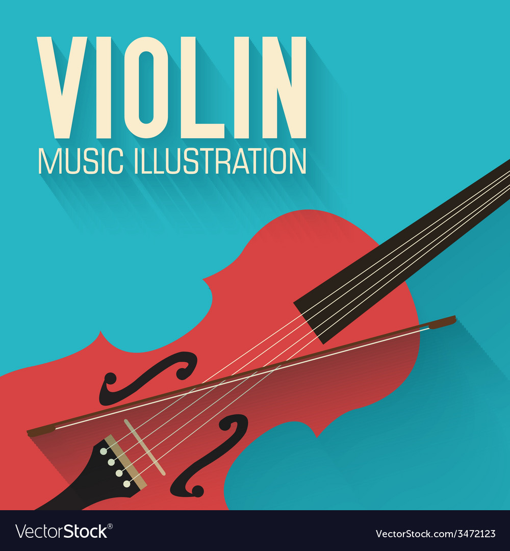 Flat violin guitar background concept vector | Price: 1 Credit (USD $1)