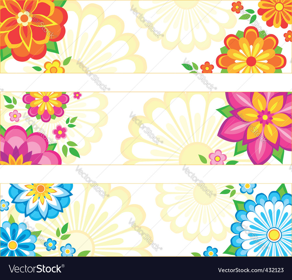 Flower banners vector | Price: 1 Credit (USD $1)