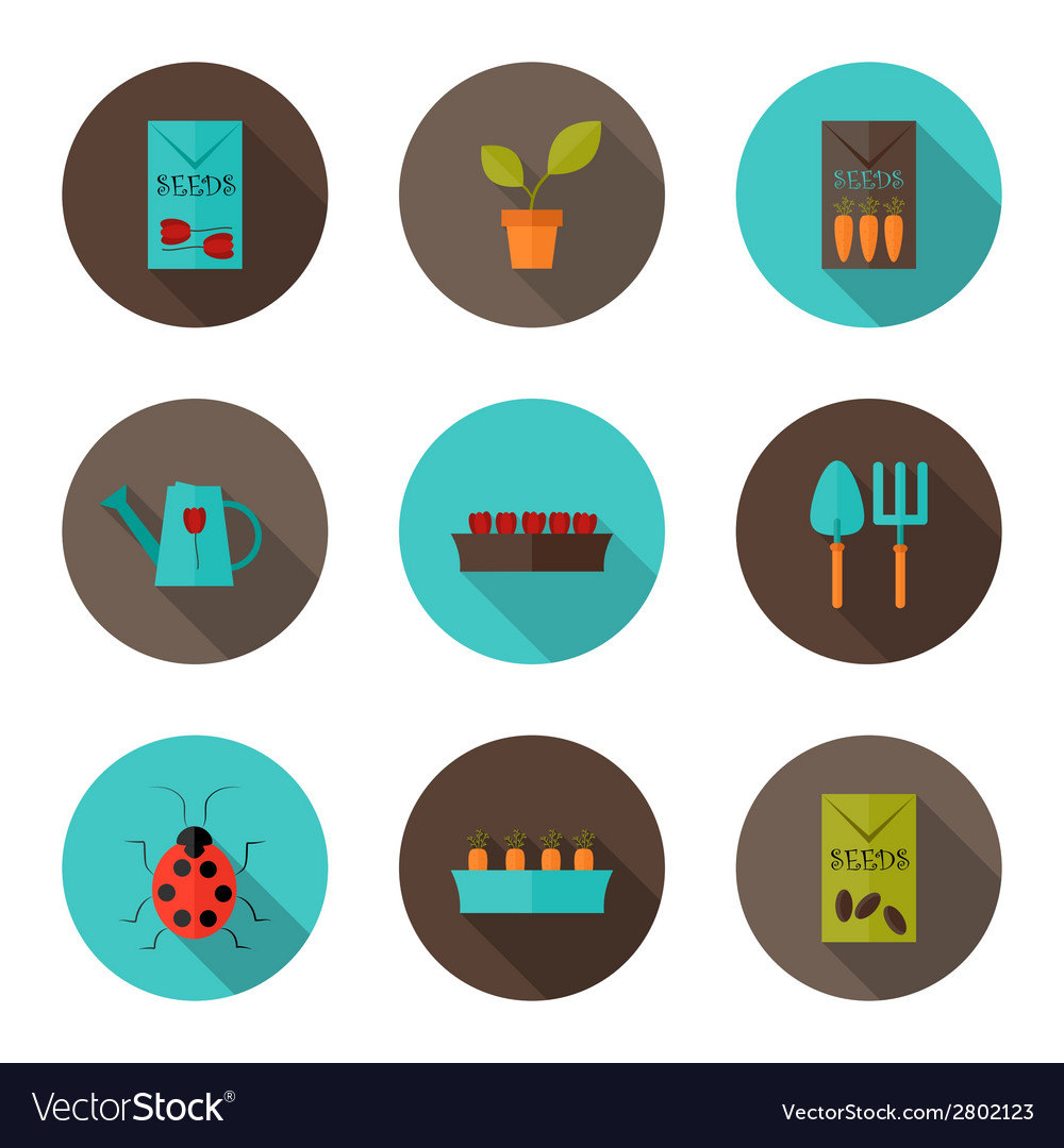 Gardening flat icons set vector | Price: 1 Credit (USD $1)
