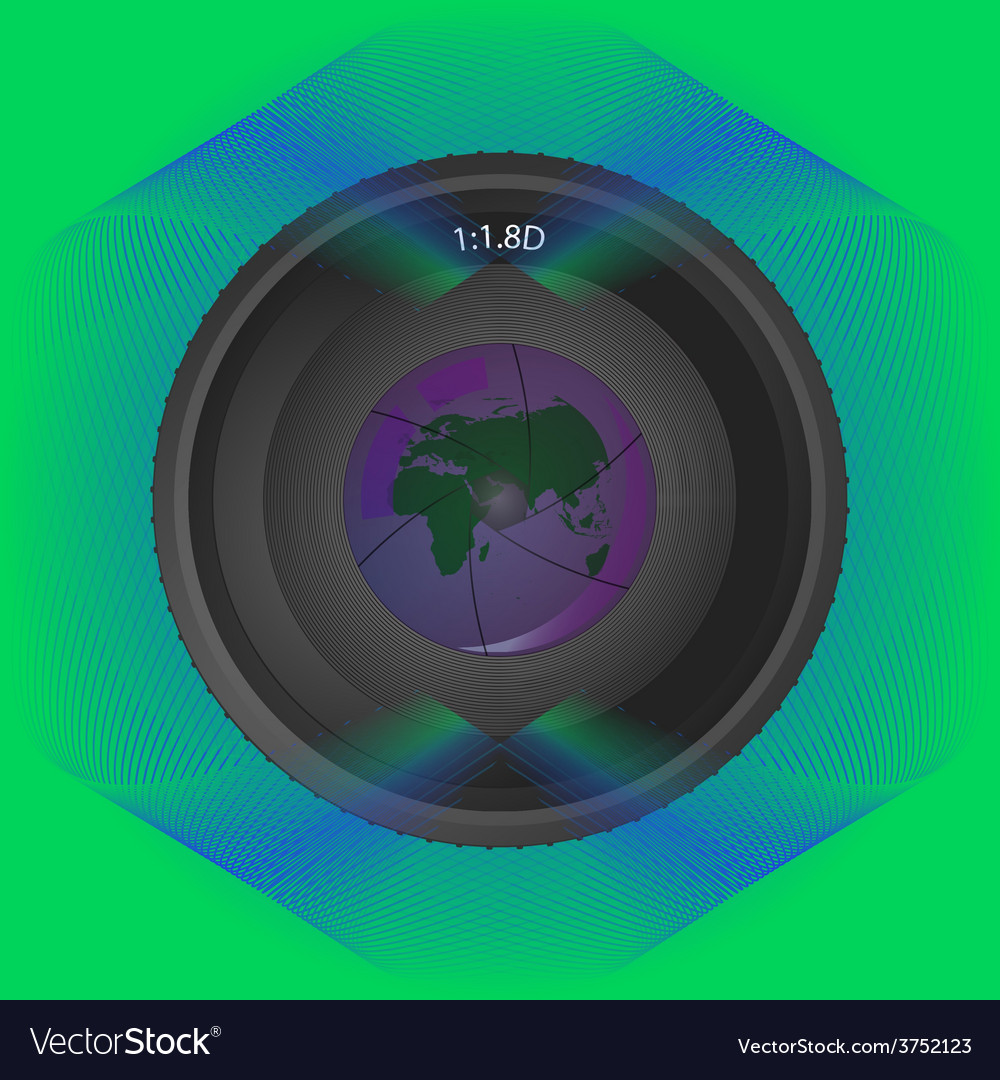 Lens on background lines with reflection planet vector | Price: 1 Credit (USD $1)