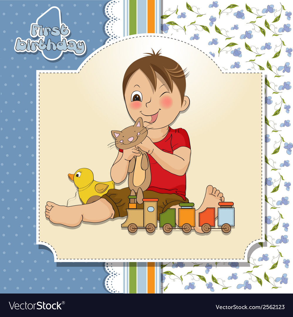Little boy are playing with his toys vector | Price: 1 Credit (USD $1)