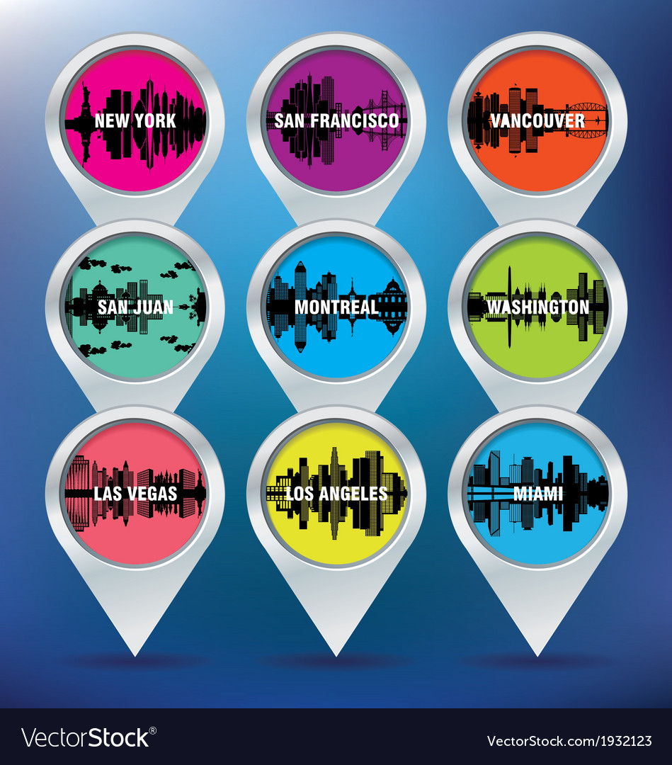 Map pins with new york san francisco vancouver vector | Price: 1 Credit (USD $1)