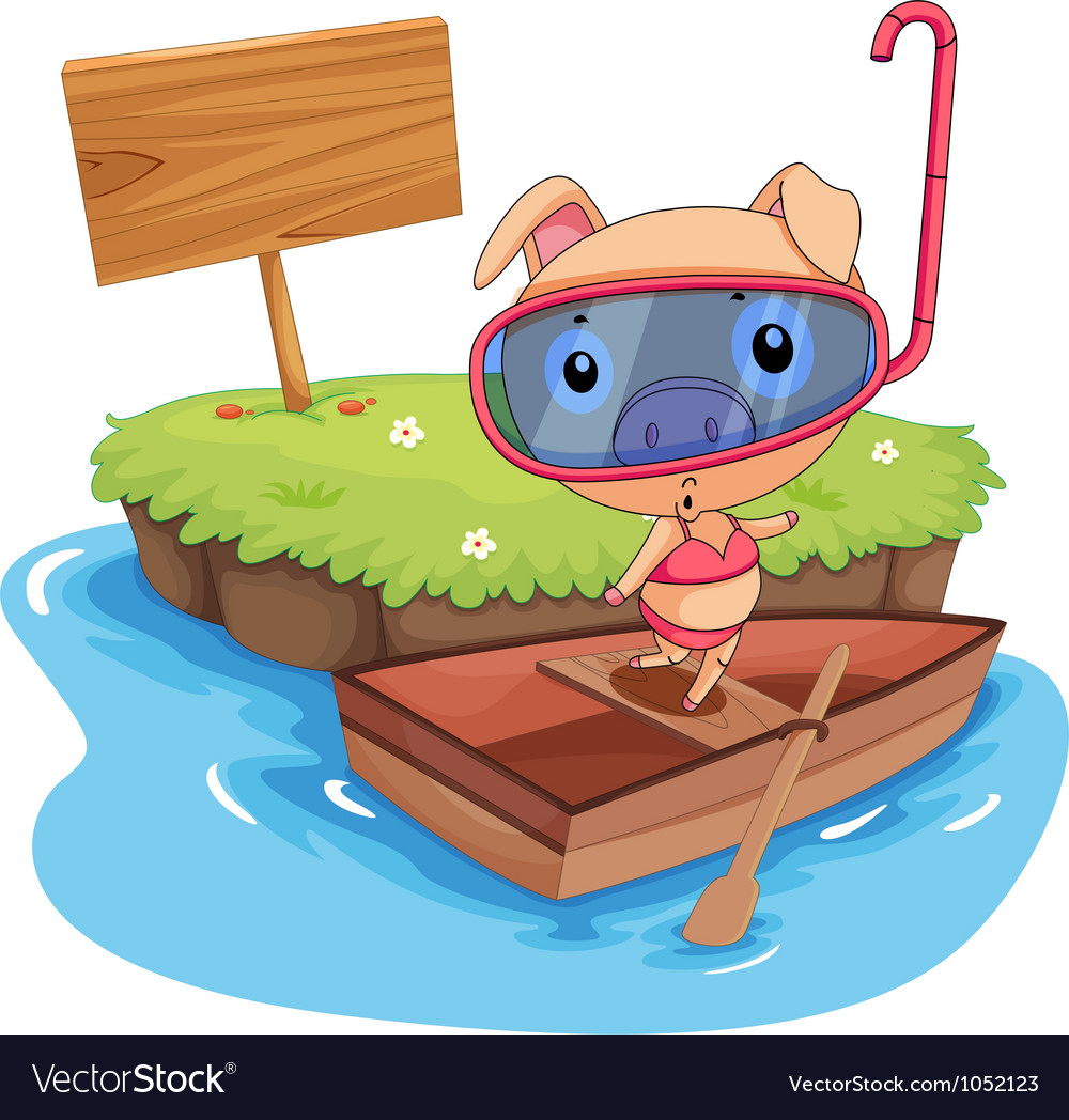 Pig and boat vector | Price: 3 Credit (USD $3)