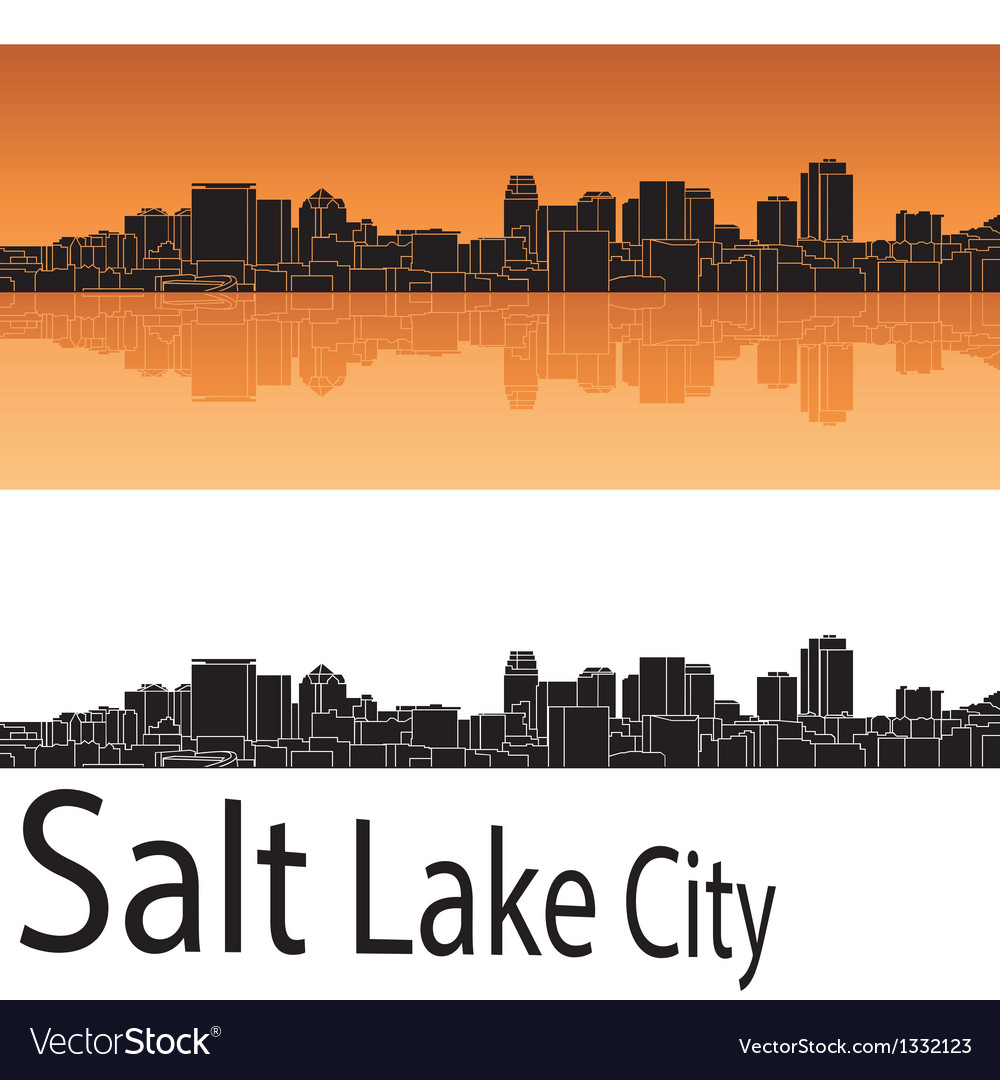 Salt lake city skyline in orange background vector | Price: 1 Credit (USD $1)