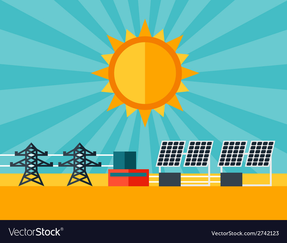 Solar energy power plant in flat style vector | Price: 1 Credit (USD $1)