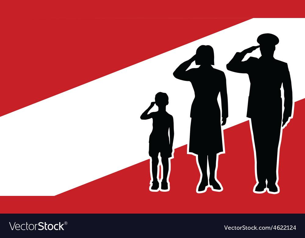 Austria soldier family salute vector | Price: 1 Credit (USD $1)