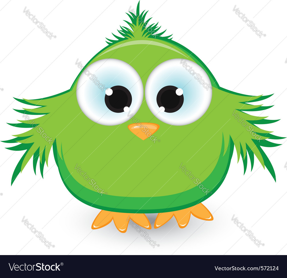 Cartoon green sparrow vector | Price: 1 Credit (USD $1)