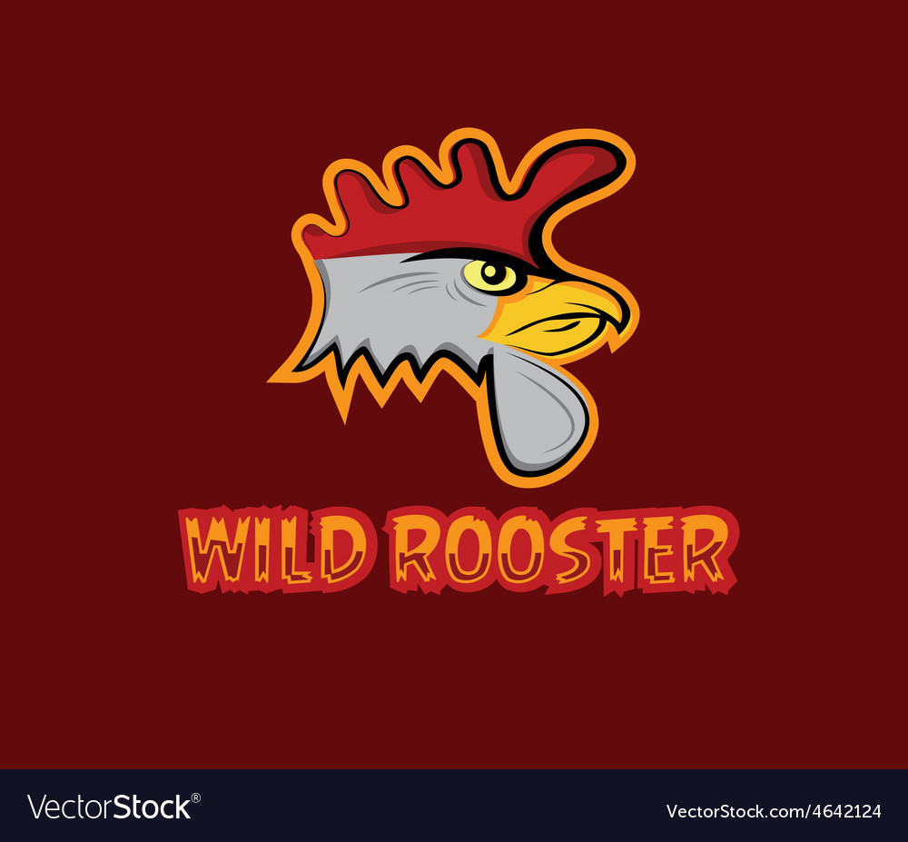 Cartoon head of wild rooster vector