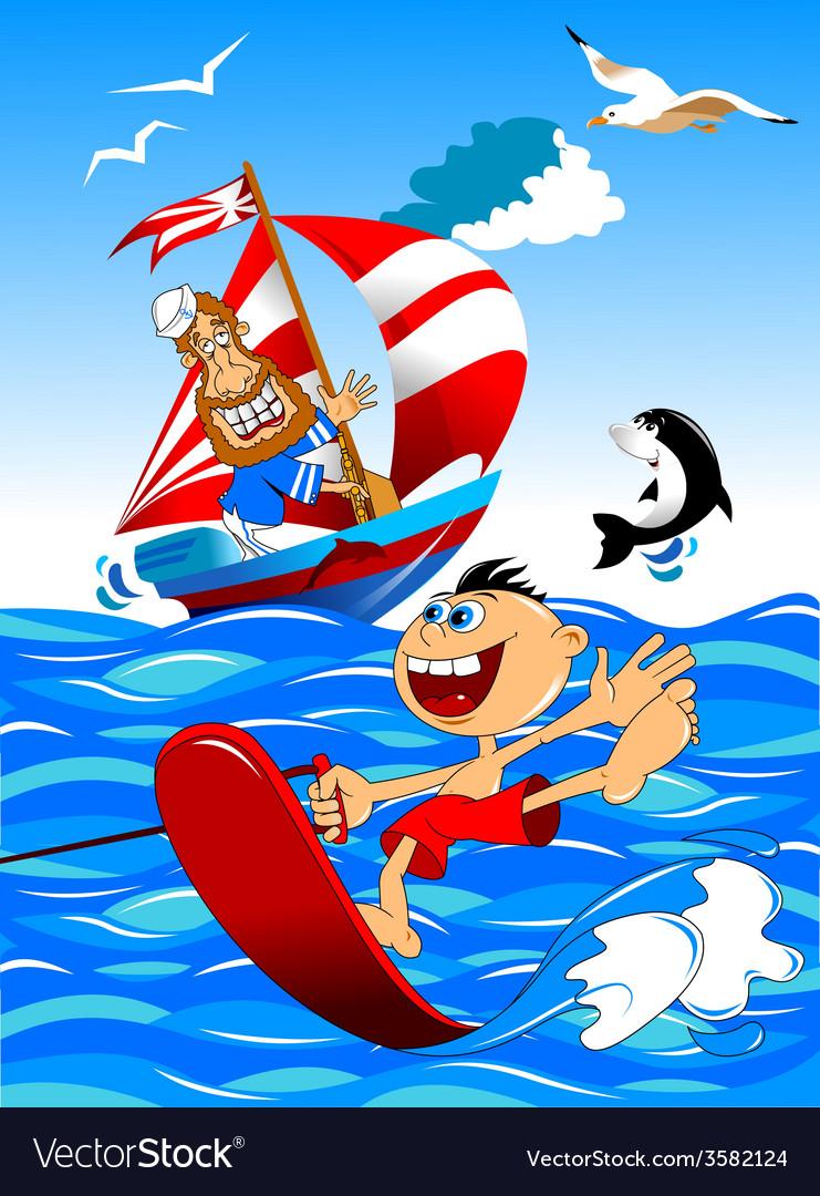 Cartoon watersports design vector | Price: 1 Credit (USD $1)