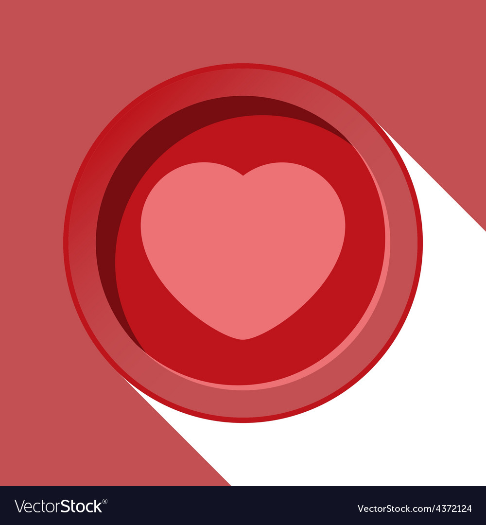 Circle with heart and stylized shadow vector | Price: 1 Credit (USD $1)