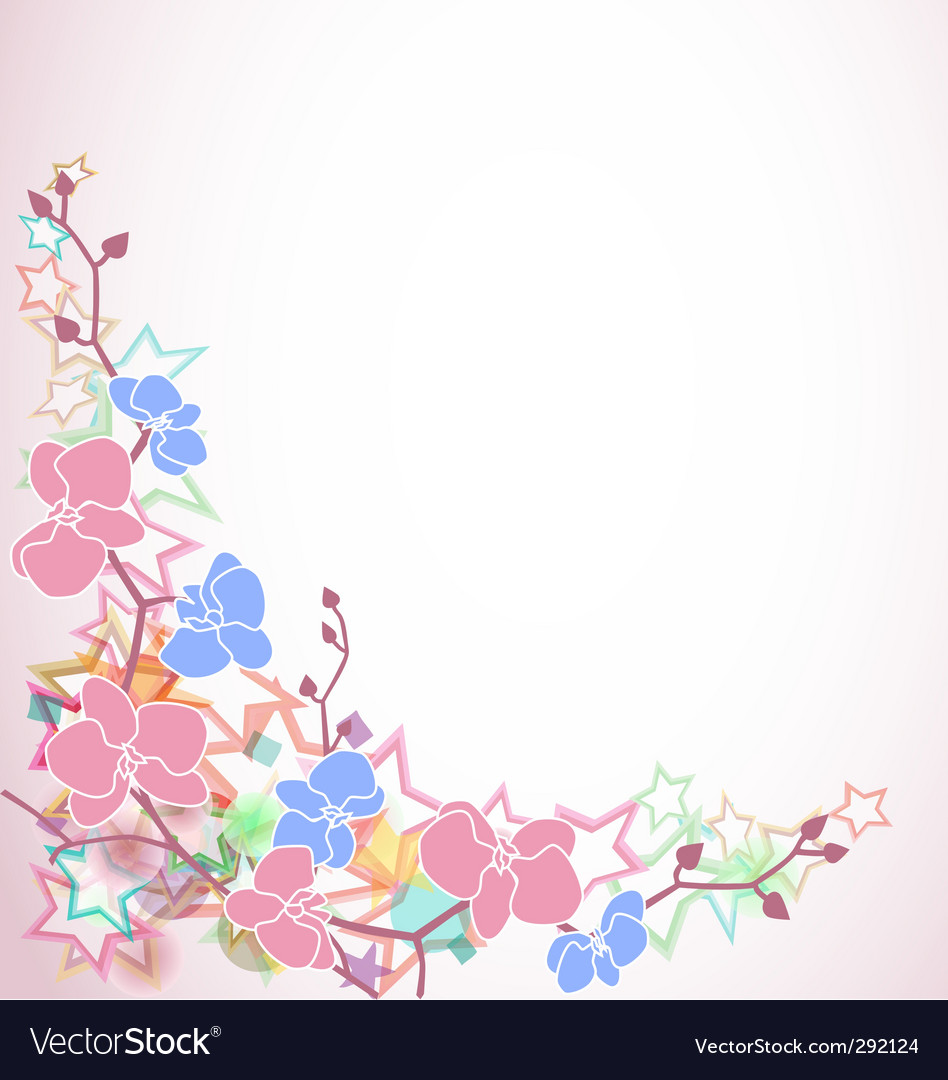 Design with orchids and stars vector | Price: 1 Credit (USD $1)
