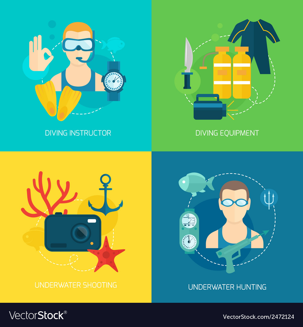 Diving icons composition vector | Price: 1 Credit (USD $1)