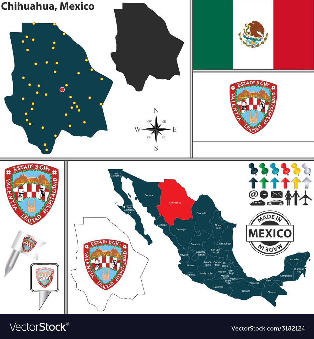 Map of chihuahua vector | Price: 1 Credit (USD $1)