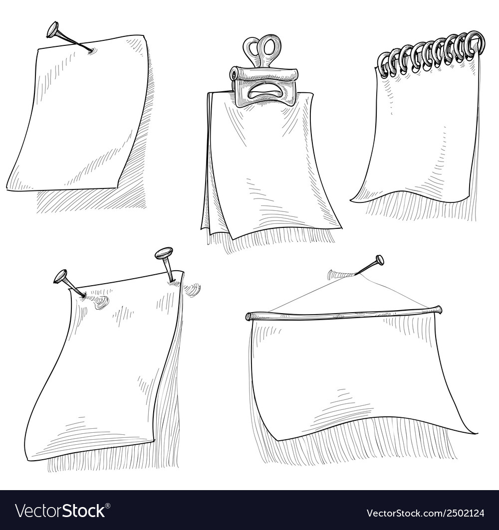 Pieces of paper for text sketch vector | Price: 1 Credit (USD $1)