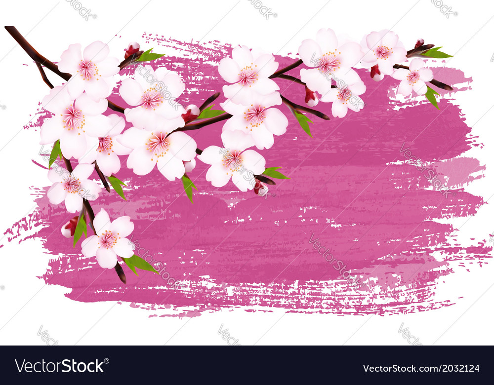 Pink paint sakura branch banner vector | Price: 1 Credit (USD $1)