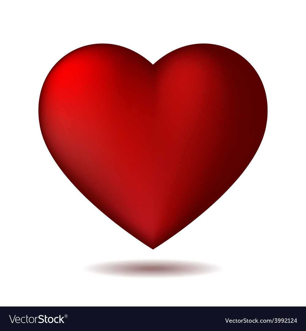 Red heart icon isolated on white vector | Price: 1 Credit (USD $1)