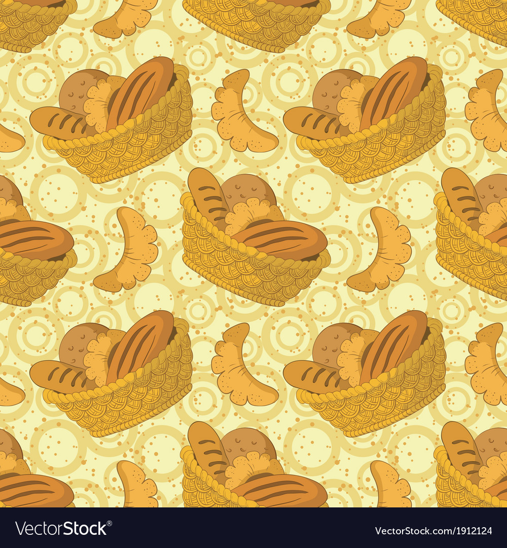 Seamless background bread in a basket vector | Price: 1 Credit (USD $1)